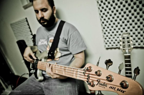 In his Beirut studio - Johnny Nasr on his Fender (lens: Tanya Traboulsi)