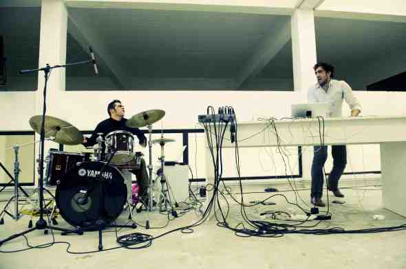 Tarek Attoui (right) and France's Uriel Barthélémi -a composer, drummer and electro-acoustic musician at the Irtijal experimental music festival (Image - Tanya Traboulsi) at the i